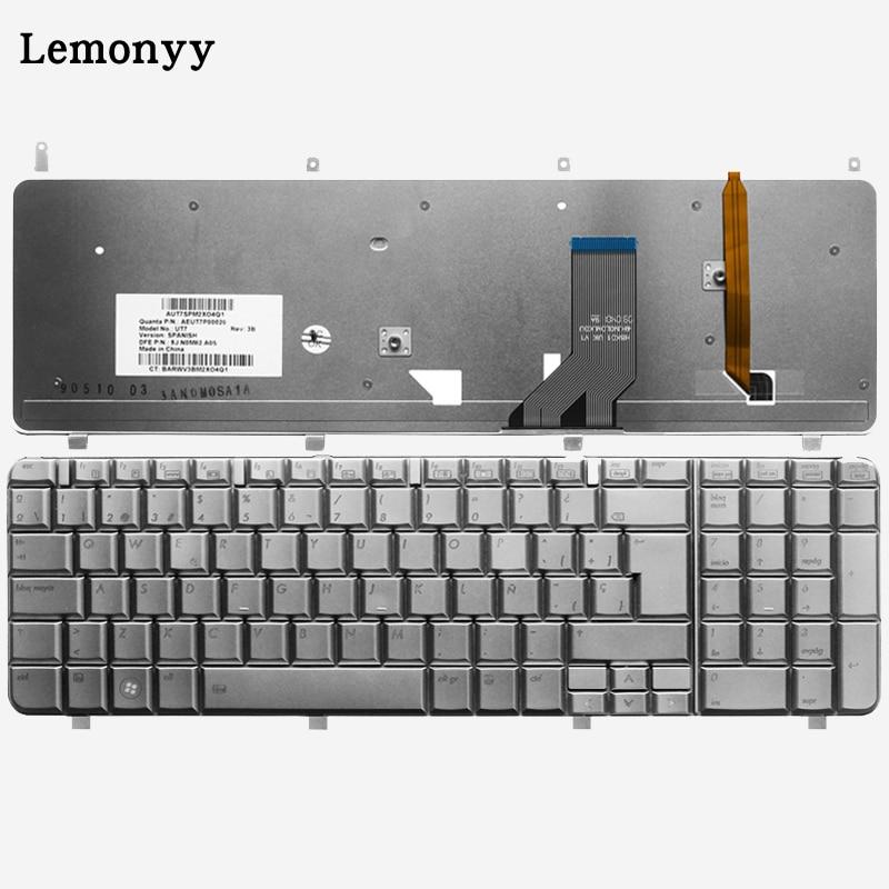 Clavier d'ordinateur portable espagnol pour HP Pavilion HDX18 HDX X18 dv8-1000 dv8-1200 dv8-1100 SP clavier Argent