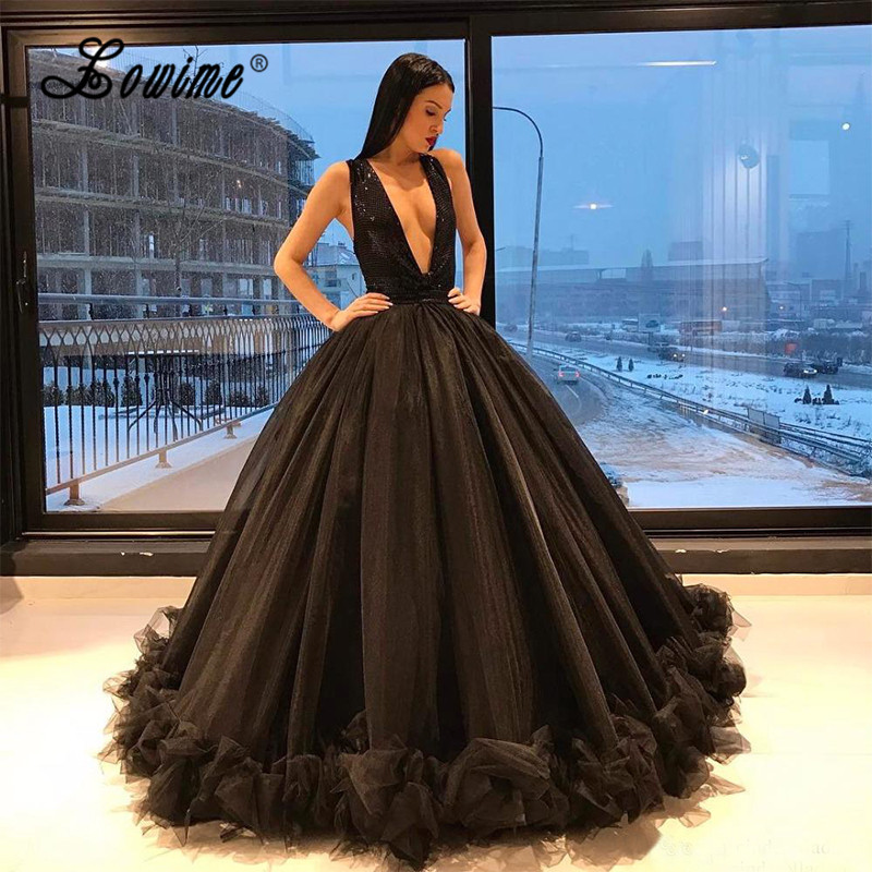 Couture 2017 Ball Gown Black Prom Dresses Sexy Sequin Deep