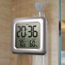 Meijswxj Saat Digital Suction Cups Clock Reloj Wall Clock Relogio de parede Duvar Saati Bathroom thermometer waterproof Clocks