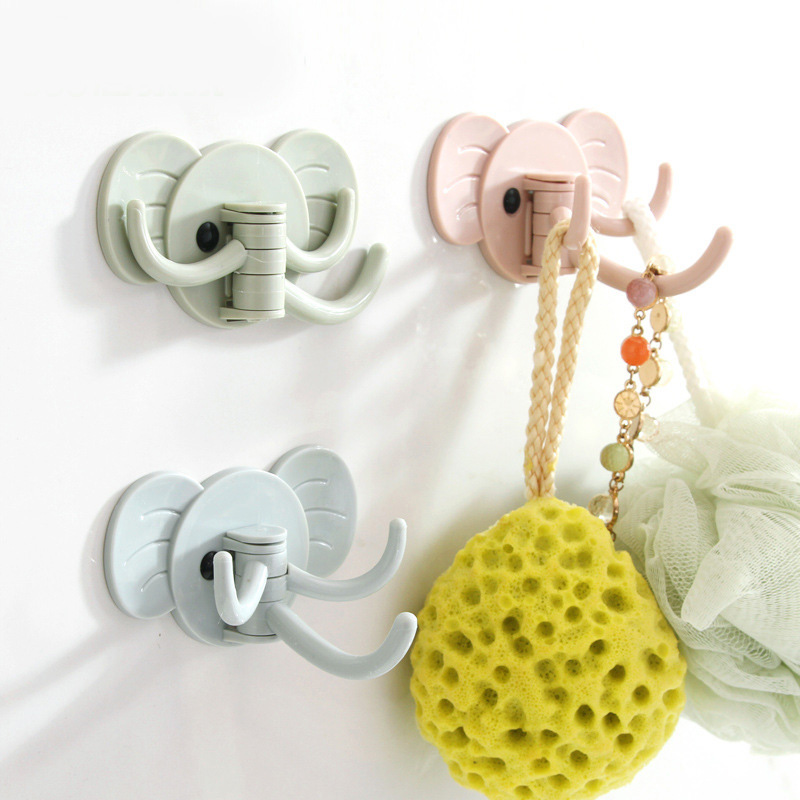 3pcs/pack Wall Hooks Strong Suction Cup Sucker Hanger For Kitchen Bathroom Cartoon Elephant Key Holder Wall Hook Storage Hangers