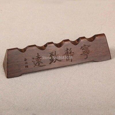 1pcsBlack Zimu Solid Wood Penholder Pen Holder Pen Pen Hanging Brush Calligraphy Library Four Treasures SuppliesTool15x3.5x3.5cm