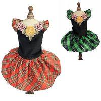 Dress For Dogs Plaid Flower Dog Wedding Dress Pet Puppy Dress Cat Skirt Clothes For Dog