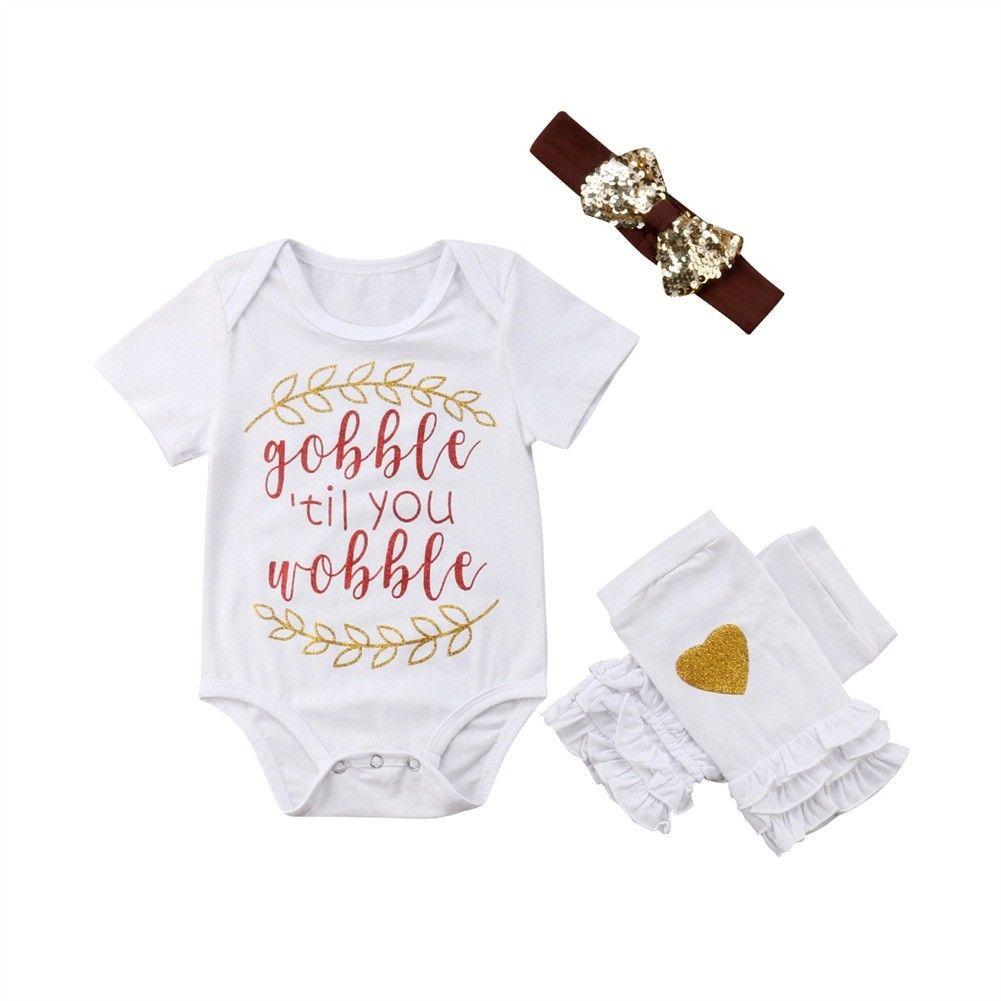 Newborn Infant Baby Kids Girl Bodysuit Tops+Leg Warmers Headband Halloween Outfits Set White