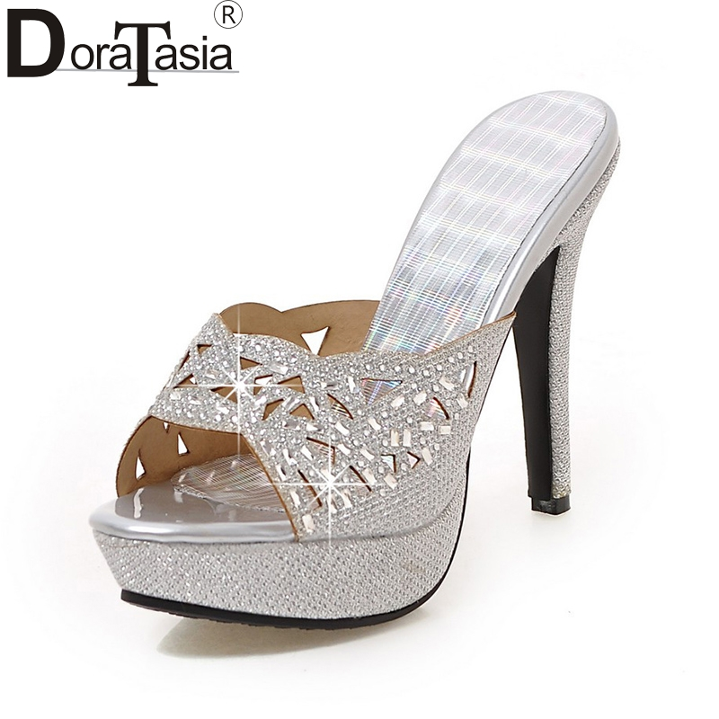 DoraTasia  2018 Plus Size 33-43 Platform Brand Women Shoes Sexy Thin High Heels Dating Party Wedding Mules Pumps Woman Footwear doratasia embroidery big size 33 43 pointed toe women shoes woman sexy thin high heels brand pumps party nightclub