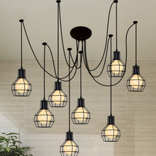 Nordic minimalist lighting creative wrought iron led chandelier living room interior bedroom dining lamp