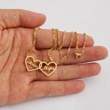 Два сердца на заказ ювелирные изделия персонализированные пары имя ожерелье мать дочь чокер Золото Серебро Bijoux подарок