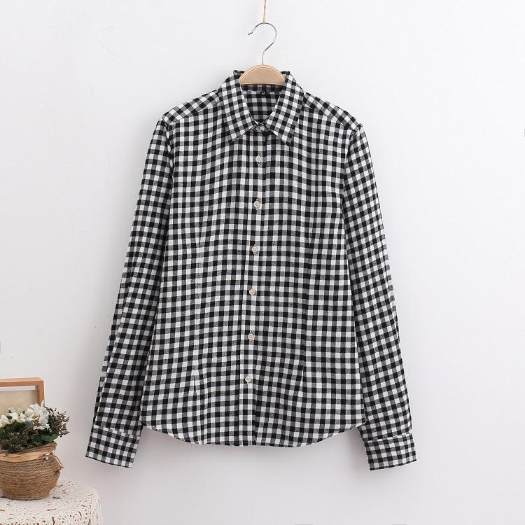 2018 Fashion Plaid Shirt Female College Style Women's Blouses Long Sleeve Flannel Shirt Plus Size Casual Blouses Shirts M-5XL 5