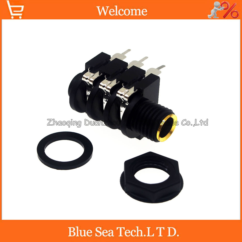 Gold-plated 6.5 New good quality Stereophonic, double channel audio socket 1/4 6.35mm female Stereo jack audio connector,6Pin 3pcs aluminum jack 3 5 audio female jack 3 5mm 4 pole stereo socket gold plated wire connector rich tech earphone diy