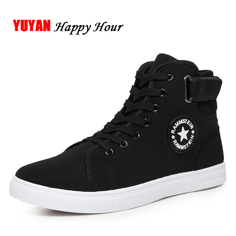 Fashion Sneakers Men Canvas Shoes High top Male Brand Footwear Men's Casual Shoes Fashion Black Sneakers