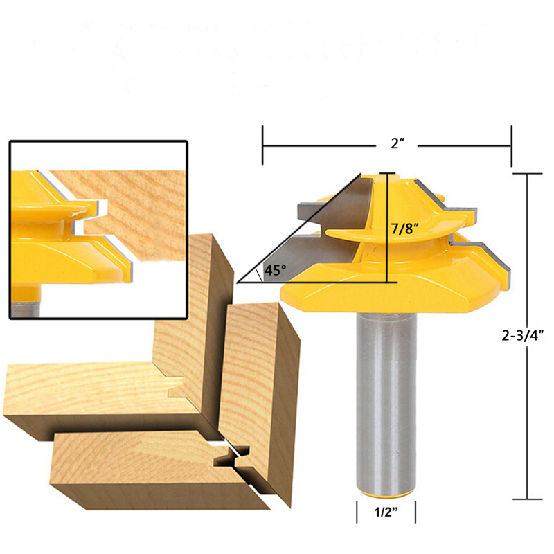 45 Degrés 1/2 Shank 2 Largeur Tenon Cutter Petit Cadenas À Onglets Routeur Peu