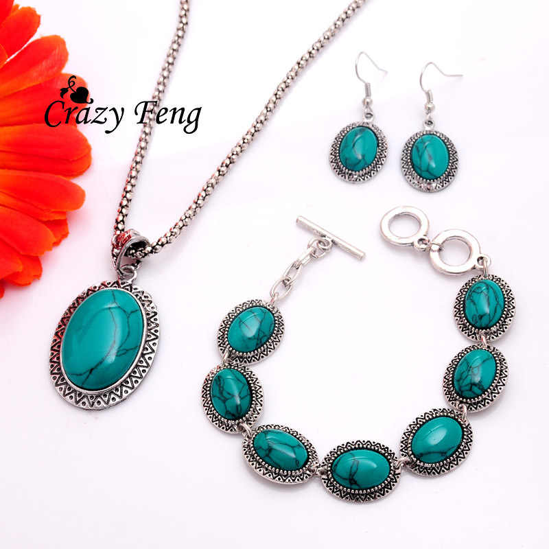 Free shipping Women's Vintage Retro Silver-color Oval Sunflower Green Stone Necklace Bracelet Hook Earrings Set  Jewelry Sets