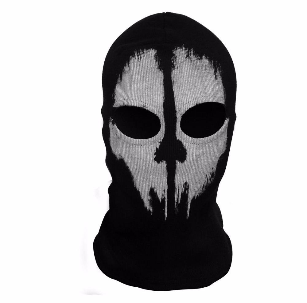 SzBlaZe Brand COD Ghosts Print Cotton Stocking Balaclava Mask Skullies Beanies For Halloween War Game Cosplay CS player Headgear in Men 39 s Skullies amp Beanies from Apparel Accessories