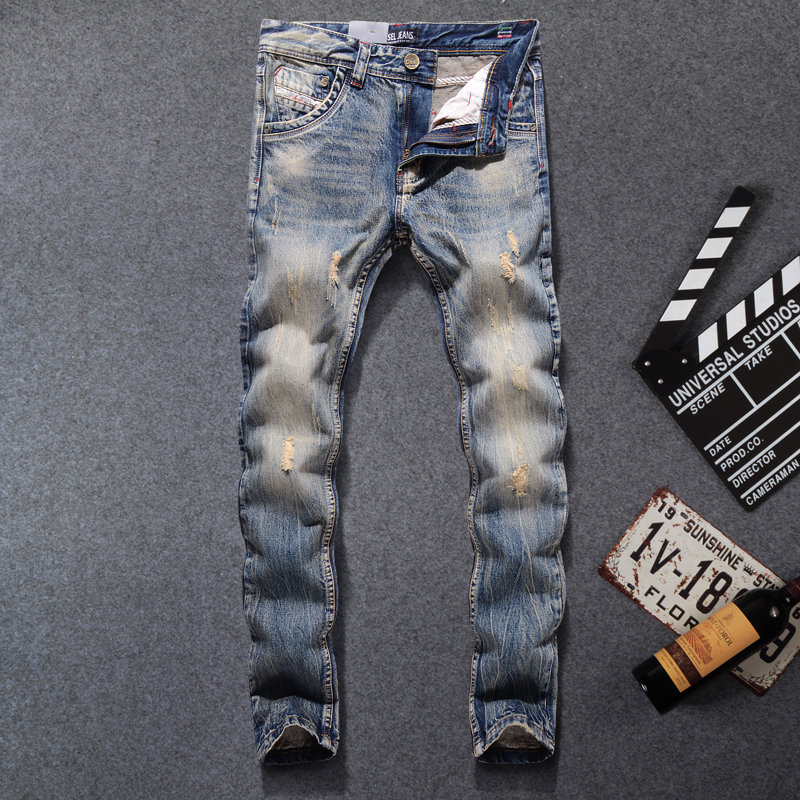 Italian Style Retro Design Men Jeans Vintage Destroyed Ripped Jeans Mens Pants Slim Fit DSEL Brand High Quality Biker Jeans Male mohd mazid and taqi ahmed khan interaction between auxin and vigna radiata l under cadmium stress