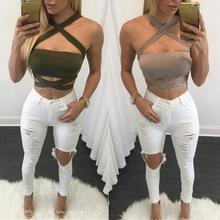 2018 Sexy Summer Women Cropped Top Cross Strap Sweatshirt Women Spaghetti Strap Solid Fitness Lady Camis Casual White Black Khaki