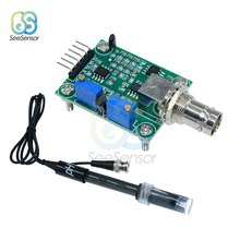 лучшая цена Liquid PH 0-14 Value Detection Regulator Sensor Module Monitoring Control Meter Tester + BNC PH Electrode Probe For Arduino