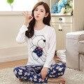 Moda doce womens pijamas Animais impressão das mulheres quentes Roupa Interior Terno Sleepwear Inverno de manga Comprida Calças de Pijama Em Casa