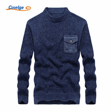 Covrlge 2017 New Men's Sweaters Solid Color Semi-high Collar Pocket Casual Christmas Free Shipping Mens Clothing M-3XL MZM005