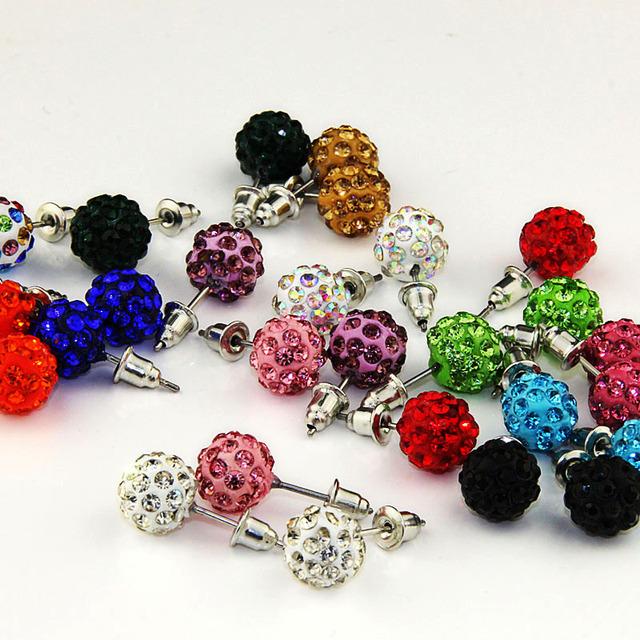 Micro Crystal Disco Ball Stud Earrings 14 PCS/Set