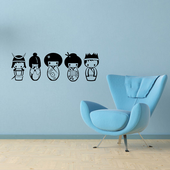 Cute Kokeshi doll DIY Vinyl Wall Stickers Removable Wall Decals Wallpaper Eco-friendly Wall Decor for Kids Room Nursery Poster 5