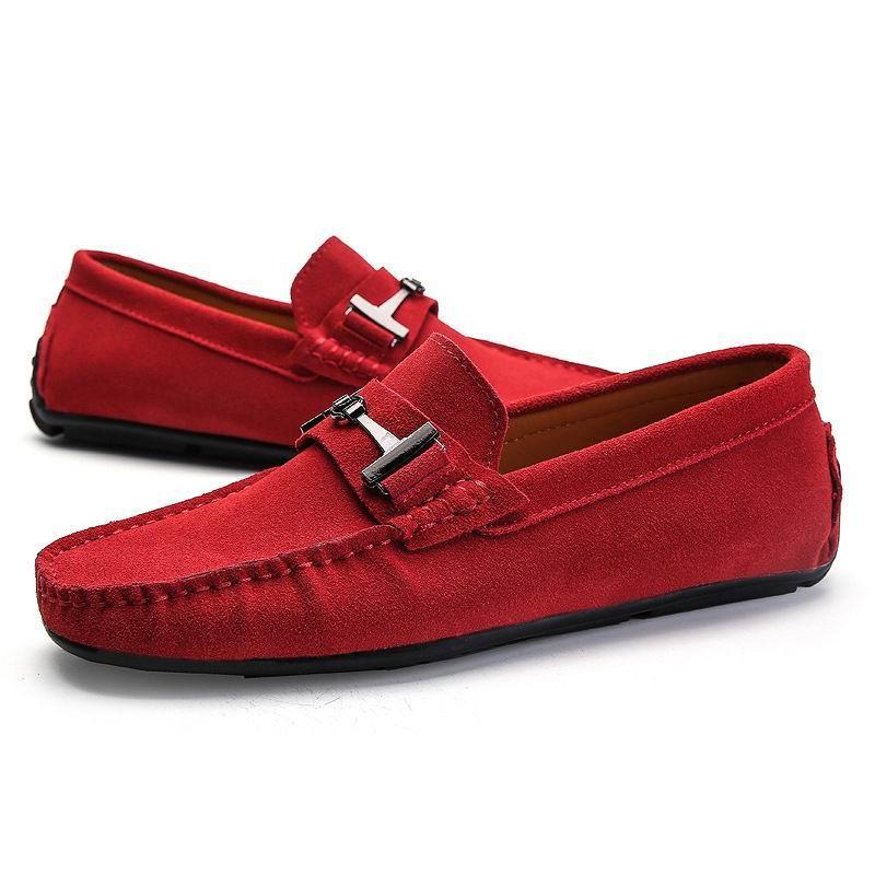 bleu Designer Hommes Noir Homme Faux rouge Rond Mocassins Loisirs Vente Chaude Mocassin Glissement Rouge Chaussures Suede Pour Bout Sur Errfc gris Mode Bateau Des 8wCF1qx