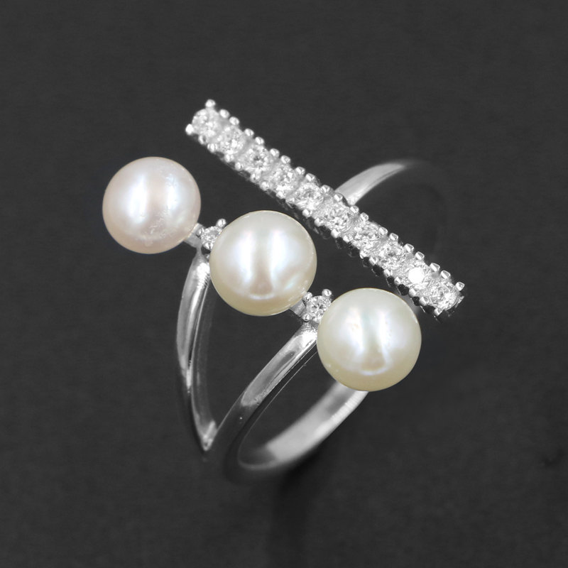 e8e721b79238 Solid 925 Sterling Silver Opening Natural Freshwater Pearl Ring Austrian  Crystal Zircon Wedding Engagement Jewelry