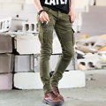 Men jeans 2016 brand famous clothing Denim Biker men Skinny Jeans Runway Distressed slim elastic hiphop Washed BLACK GREEN