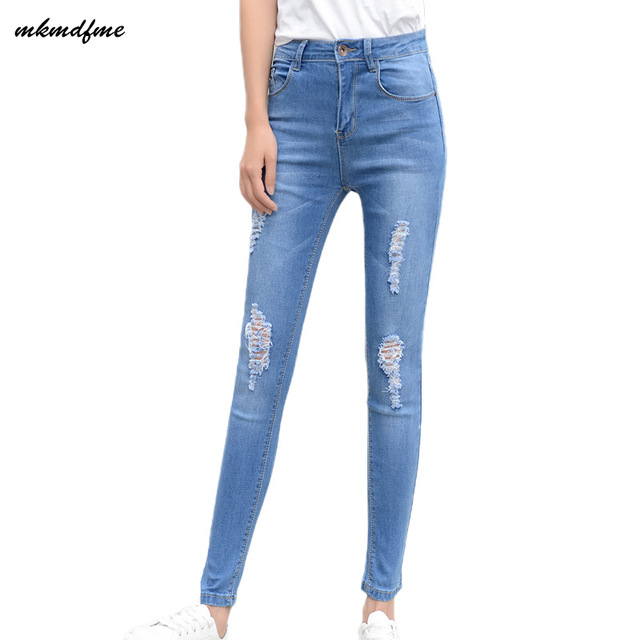 be91fa2382724f R$ 76.29 |MKMDFME primavera e no verão de moda de nova estiramento buraco  jeans apertado lápis calças femininas versão Coreana do azul nove pontos ...