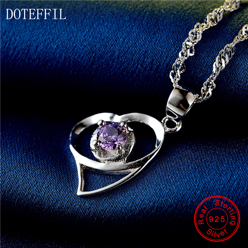 Love Necklace 925 Sterling Silver Women Charm Necklace Heart Fashion Silver AAAA 4mm Zircon Pendant Necklace