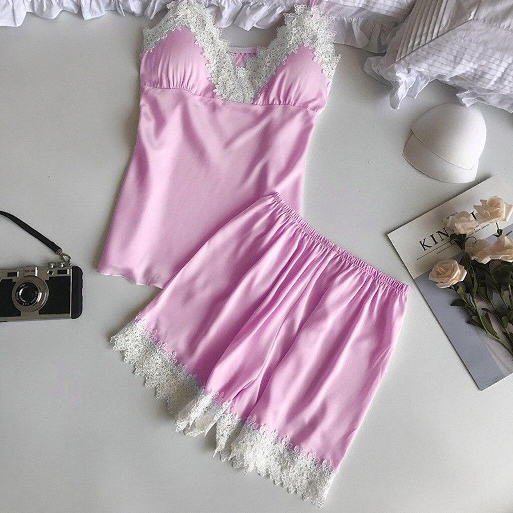 2PC Set Women Sexy Lace Lingerie Nightwear Underwear Babydoll Short Sleepwear Satin Pajamas Pants Set Pyjama Femme