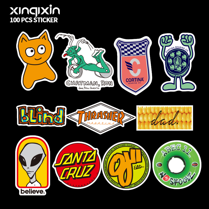 Купить с кэшбэком 100 PCS Mix brand logo Stickers for Laptop Skateboard Luggage Car Styling Bike Decals Cool Waterproof Sticker