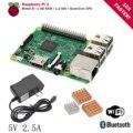Raspberry Pi 3 Модель B Доска + Теплоотвод + Адаптер Питания Источник Питания ПЕРЕМЕННОГО ТОКА рашпиль ПЭ3 B, PI 3, PI 3B. 1 ГБ LPDDR2 Quad Core Wi-Fi Bluetooth