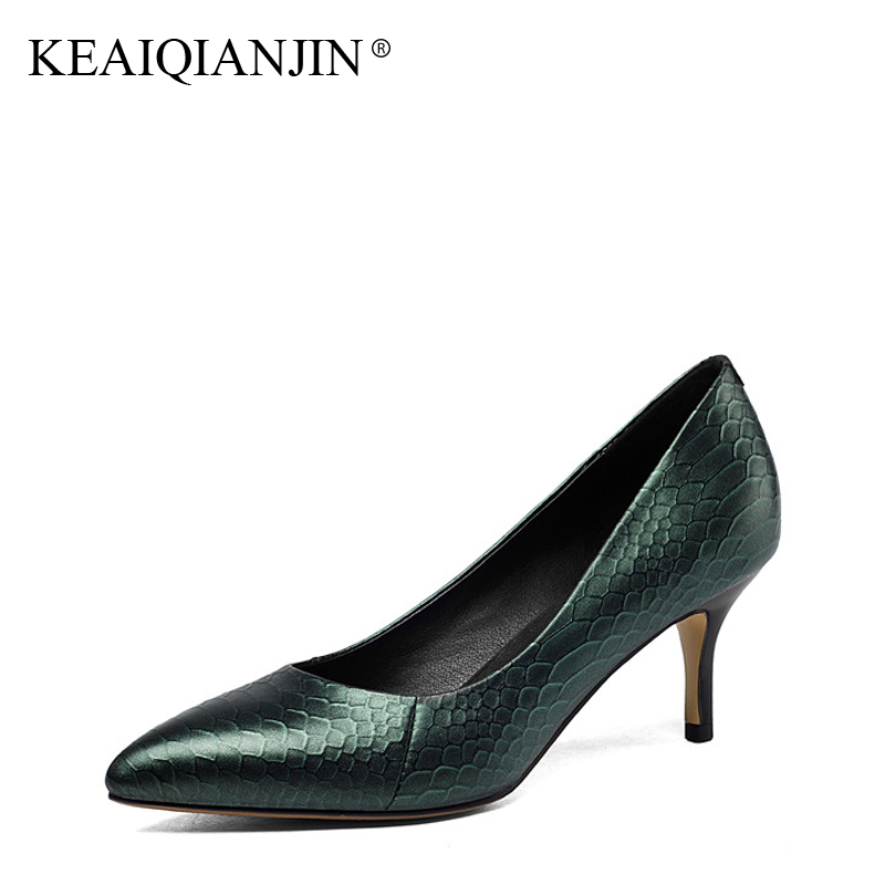 KEAIQIANJIN Woman Snakeskin Pattern Pumps Plus Size 34 43 High Shoes Fashion Spring Autumn Genuine Leather