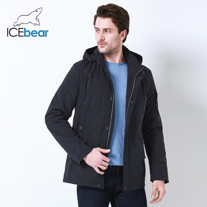 ICEbear 2019 Весна средней длины куртка мужская большой карман дизайн ветрозащитный тонкий стенд воротник простой красивое пальто MWC18120D