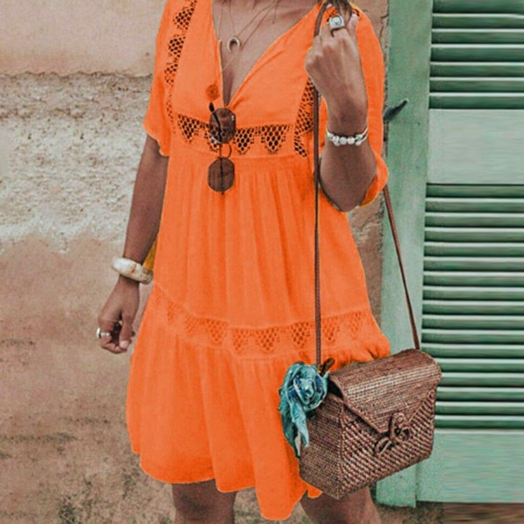 Women's Summer Boho Dress V Neck Hollow Dress Short Sleeve Party Beach Sundress dresses woman party night summer dresses 2020|Dresses| - AliExpress