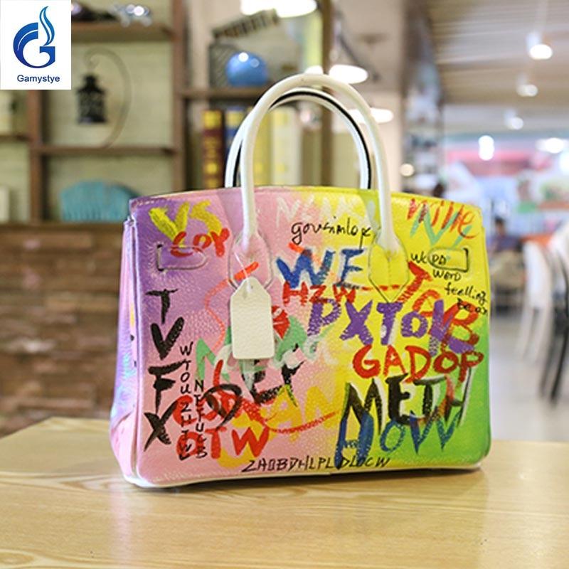 Gamystye Hand Painted Graffiti Personality Letter Bag Women Genuine Leather Togo Handbags Messenger Casual
