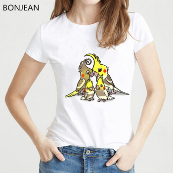 New Summer Fashion Women T Shirt Hipster Cool Pied Cockatiel family Print T Shirt femme Funny Bird Design t-shirt female tops love jesus cuss little funny shirt cool southern country gift t shirt free shipping tops fashion classic unique gift