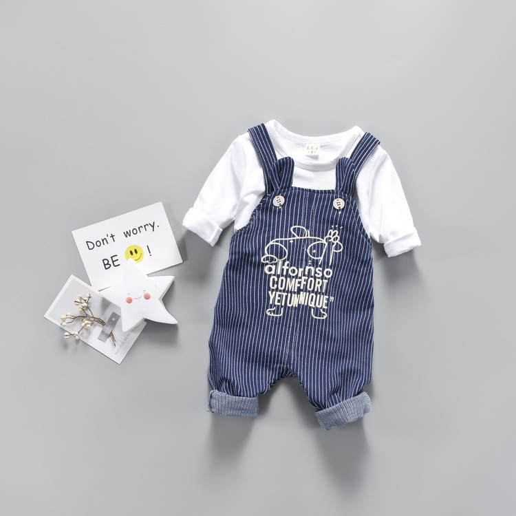 Nnilly 2018 Spring Autumn Recommend Favourite New Boys Clothing Set Baby Girl Clothes Bib T-shirt+Pants 2pcs/set Cartoon Print