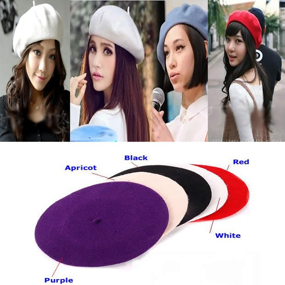 Free Shipping Hot Fashion Wool Warm Women Felt French Beret Beanie Newsboy Berets Tam Ha ...