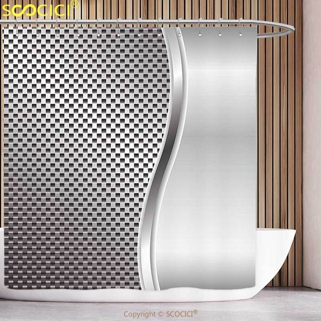 Decorative Shower Curtain Grey Decor Metal Background with Square ...
