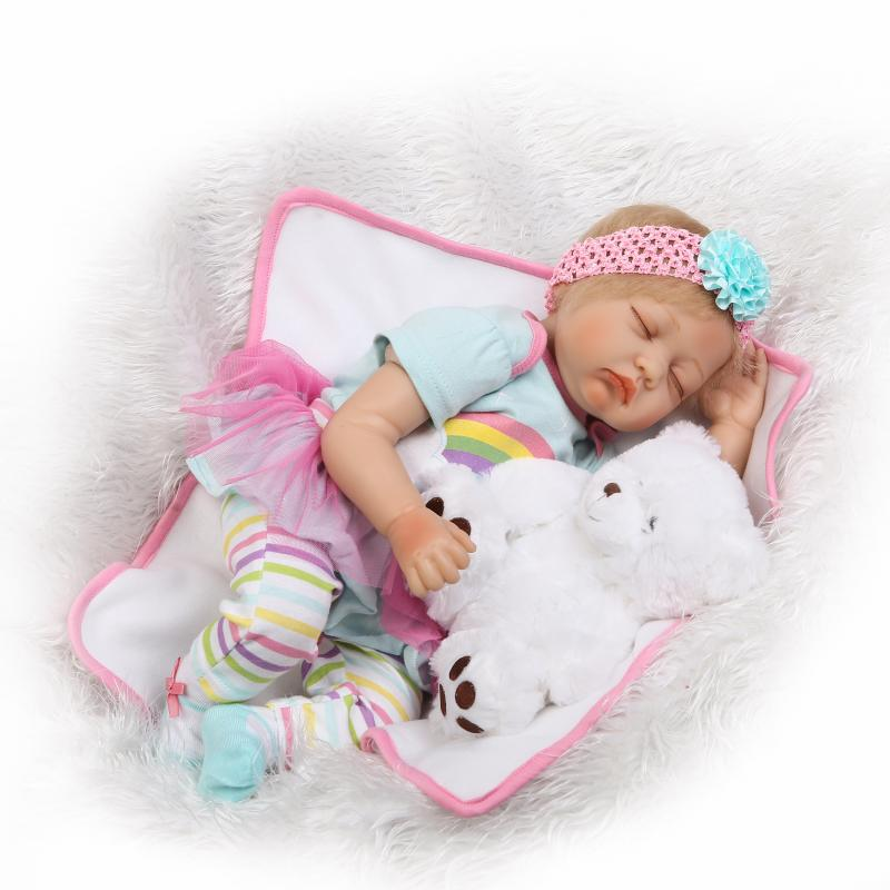 55cm Soft silicone reborn babies sleeping girl doll toy lifelike 22inch newborn doll toy birthday gift for kid play house toy цена