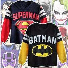 Sell well Style Superman Batman Kid Boy Cartoon 100%Cotton High Quality Sweatshirt Hoodies Tops T-shirt