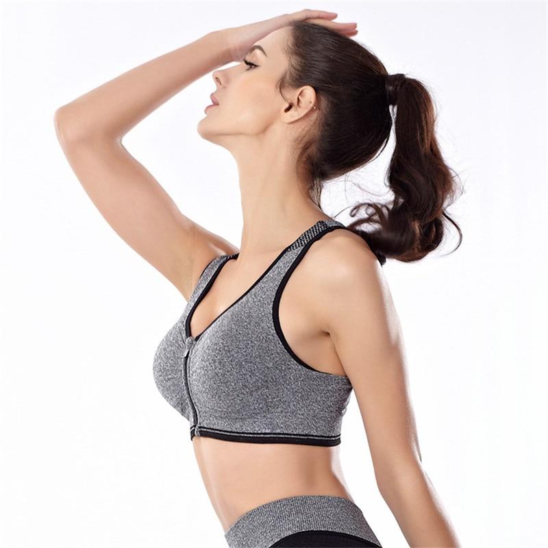 CHRLEISURE S-L 4 Colors Womens Push Up Bra Wireless Full Cup Single-Bra Anti-Rattle Front Zipper Vest Design Workout Bra