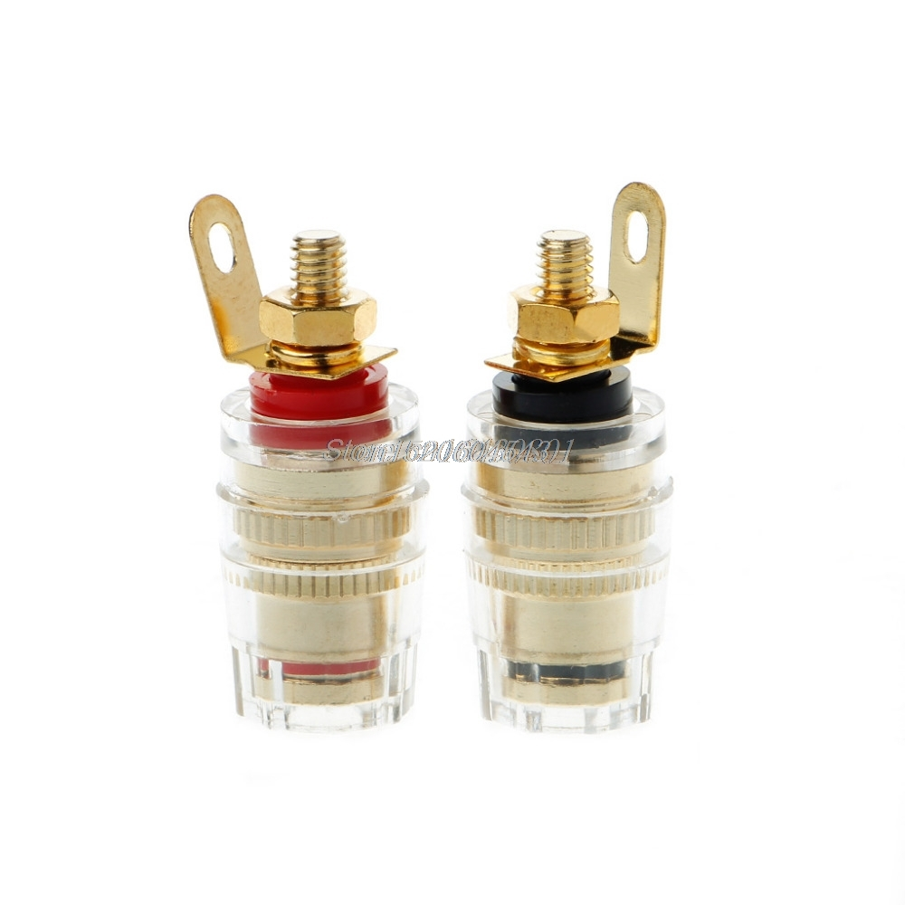 1pair/2pcs Banana Connector 4mm Thread Medium Amplifier Speaker Spade Terminal Binding Post Banana Plug Socket Connector 33MM # цена