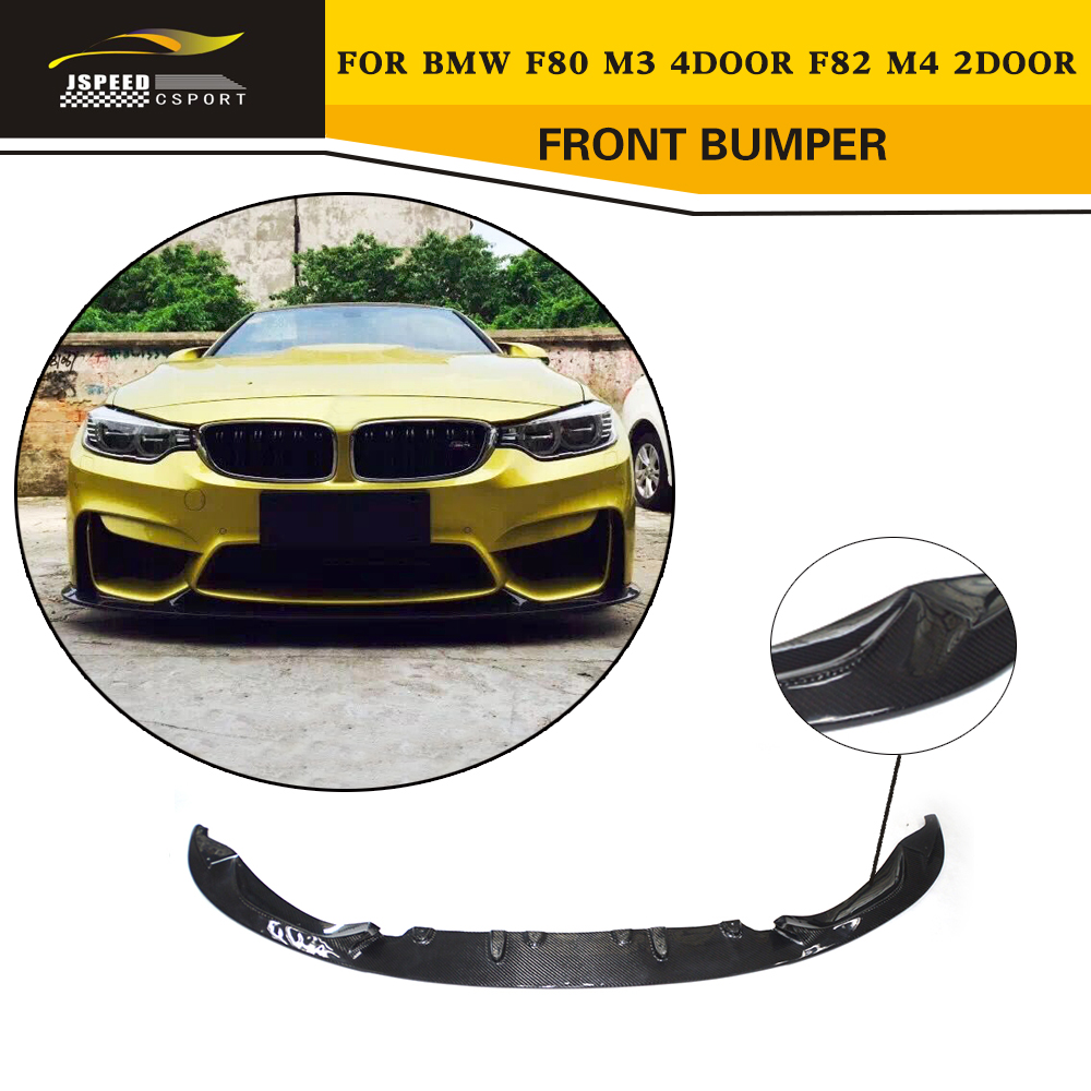 M3 M4 Carbon Fiber Racing Front Bumper Lip Car Styling For BMW F80 M3 & F82 M4 Sedan Coupe Convertible 2014-2017