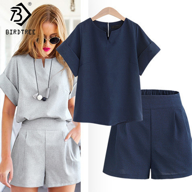f2161a9e5b Casual Cotton Linen Two Piece Sets Women Summer V-Neck Short Sleeve Tops+Shorts  Female Office Suits Set Women's Costumes S81201A