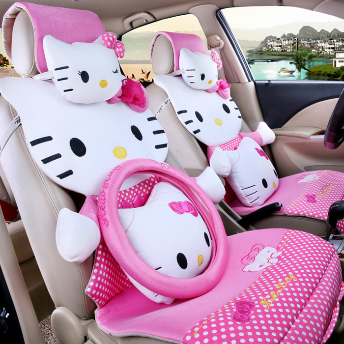 for summer pink polka dot hello kitty car seat covers sets front rear full set cartoon sedan. Black Bedroom Furniture Sets. Home Design Ideas