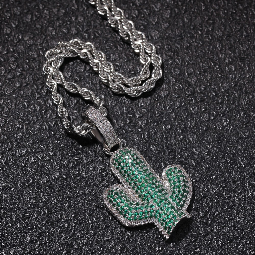 Image 4 - UWIN Full Iced Out White/green Cubic Zirconia Cactus Shape Pendants Fashion Hiphop Plant Necklace Gold Color Mens Jewelry-in Chain Necklaces from Jewelry & Accessories
