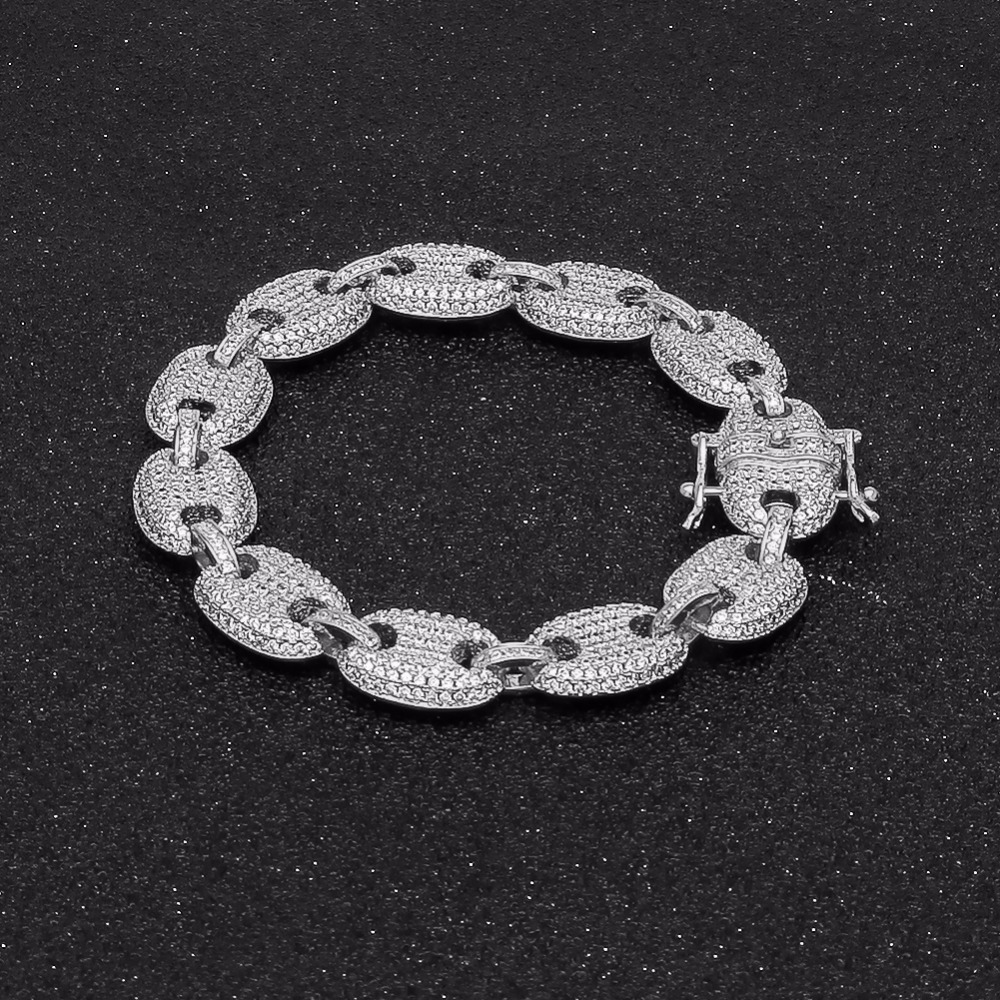 UWIN Coffee beans Bracelet Puffed Marine Chain 13mm Hip hop Gold Silver Link Fashion Punk Choker Charms Jewelry 7inch 8inch