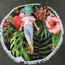 100% Cotton Pink Hibiscus Flower large Round Beach Towel Yoga Mat Sunscreen Shawl Wrap Skirt Tassels big size 59'' 526g YA01(China)