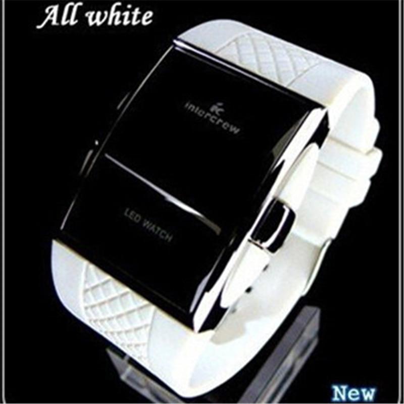 Sports Digital Watches 2021 New Stylish Men Black Rentangle Dial LED Electronic Clock Silicone Watchband Hot erkek kol saati